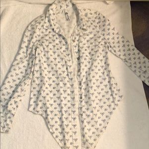 Blue flower patterned button down